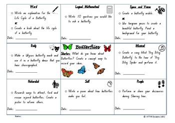 Mini-beasts: Butterflies Multiple Intelligence Grid/Task board.