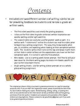 Mini-book Writing & Rubrics Freebie