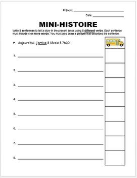 Mini-histoire (French Writing Activity)