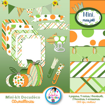 Mini-kit Docudéco Citrouilleries (clipart)/Pumpkin clipart