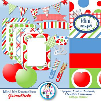 Mini-kit Docudéco J'aime l'école (clipart)/I love school clipart