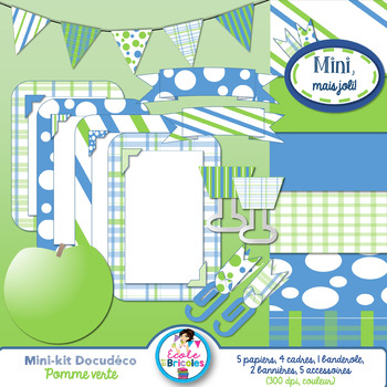 Mini-kit Docudéco Pomme verte (clipart)/ Green apple clipart