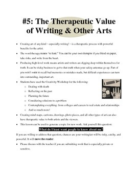 """Mini-lesson #5 - """"The Therapeutic Value of Writing & Other Arts"""""""