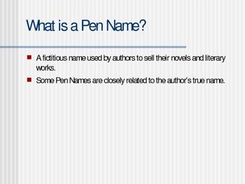 Mini-lesson on PEN NAMES