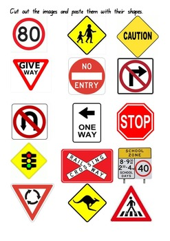 Mini pack of Australian road signs for Kinder and Prep