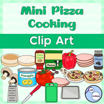 Mini pizza cooking clipart