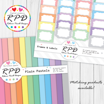 Polka dots mini spots pastel colours & white digital paper set/ backgrounds