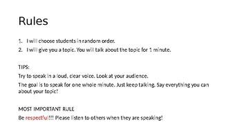 Talk for 1 Mintue! Conversation Practice Powerpoint- Advanced