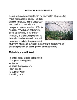 Miniature Habitat Models Common Core Activity