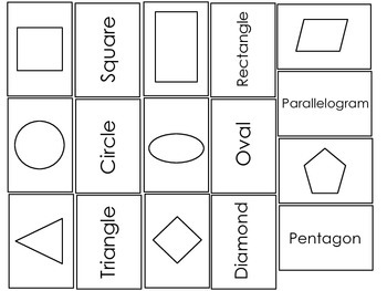 Miniature Shape Matching Flash Cards.  Preschool Basic Sha
