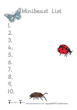 Minibeast List