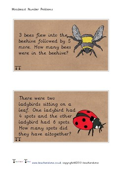 Minibeast Number Problem Cards