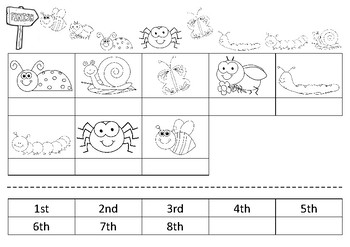 Minibeast Race- Ordinal number cut and paste
