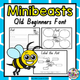 Minibeasts, Insects, Bugs: Worksheets, Diagram QLD Beginners Font