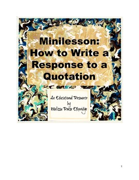 Minilesson: How to Write a Personal Response to a Quotation