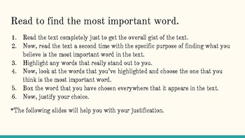 Minilesson: Most Important Word