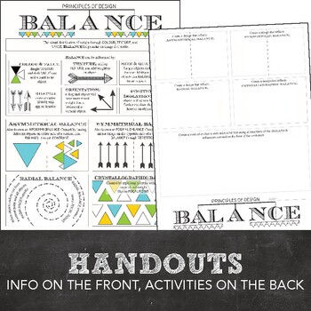 Principles of Design Worksheet Packet: 8 Mini Lesson Worksheets and Activities