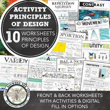 Principles of Design Worksheet Packet: 9 Mini Lesson Worksheets and Activities