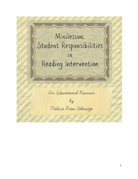 Minilesson: Student Responsibilities in Reading Intervention