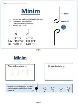 Minim Music Theory Mini-Book (UK term for Half Note)