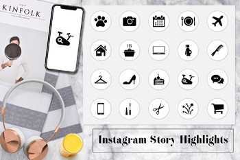 Minimal Instagram Story Highlights Icons, White Instagram Highlight Covers