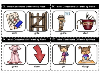 Minimal Pair Cards for Auditory Discrimination and Training