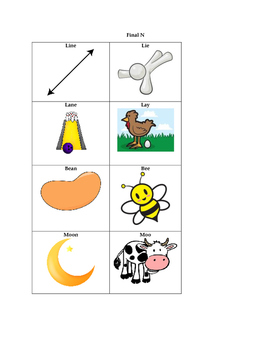 Minimal Pair Cards for Final Consonant Deltion of /n/