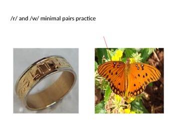 Minimal Pair practice:  /r/ vs /w/ teletherapy materials