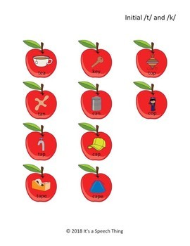 Minimal Pairs Apples: t/k and d/g