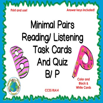 Minimal Pairs B and P Reading and Listening Task Cards