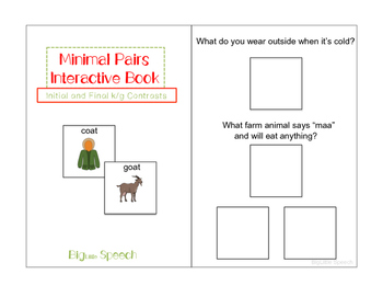 Minimal Pairs Interactive Book: Initial and final k/g Contrasts for Speech
