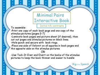 Minimal Pairs Interactive Book: Initial t/k Contrasts for Speech Therapy