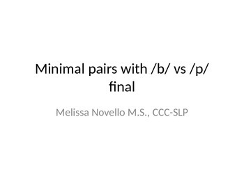 Minimal Pairs P and B in the final position (final consona