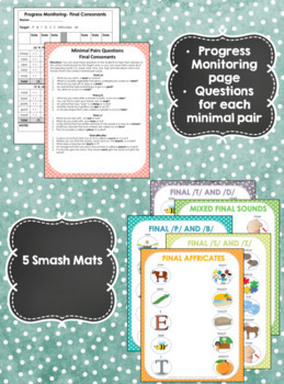 Minimal Pairs Smash Mats for Articulation & Phonology -Final Consonant Deletion