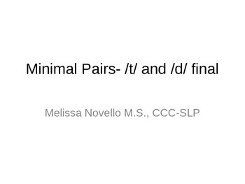 Minimal Pairs T and D in the final position (final consonant devoicing)