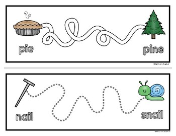 Minimal Pairs Tracing Cards / Mats - Half Page - 54 Cards - Rhyming Too