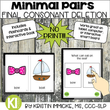 NO PRINT Minimal Pairs for Final Consonant Deletion for Speech Therapy