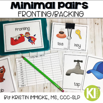Minimal Pairs for Fronting/Backing Printable Cards for Speech Therapy