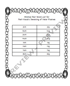 Minimal Pairs for Post-Vocalic Devoicing of Plosives