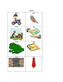 Minimal pair cards for final consonant deletion of /p, b, m, d, n/