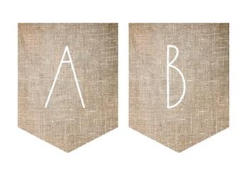 Minimalist Design Burlap/Hessian Alphabet Bunting