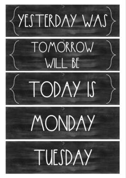 Minimalist Design Chalkboard/Blackboard Calendar Cards