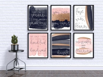 Minimalist Growth Mindset Posters - Blush, Navy, Gold