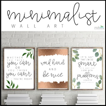 Minimalist Growth Mindset Posters - Green, Navy, Gold