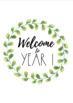 Minimalist Watercolour/Watercolor Wreath Welcome Sign (Greenery Garden Decor)