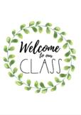 Minimalist Watercolour/Watercolor Wreath Welcome Sign (Gre