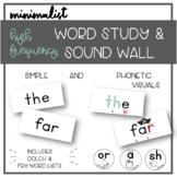 Minimalist Word Wall and Word Study  + DIGITAL WORD CARDS