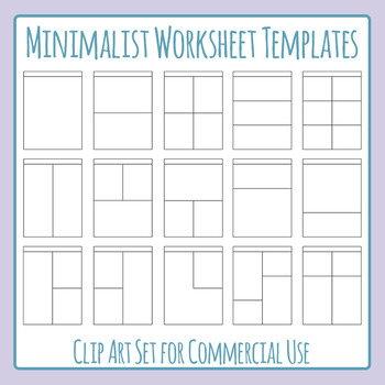 Minimalist Worksheet Templates / Layouts for Commercial Use