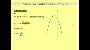 Minimum and maximum of quadratic function