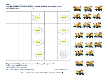 Minion 20 day Behavior Tracker